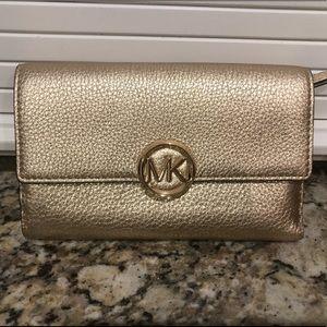 Michael Kors gold clutch/wallet